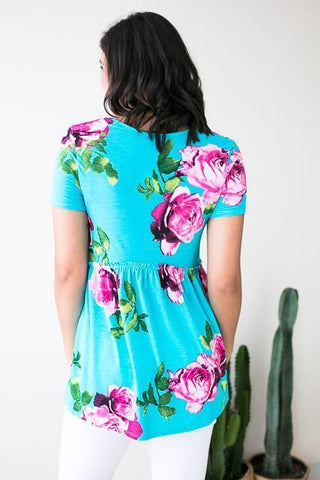Back To Babydoll Blue Floral Top
