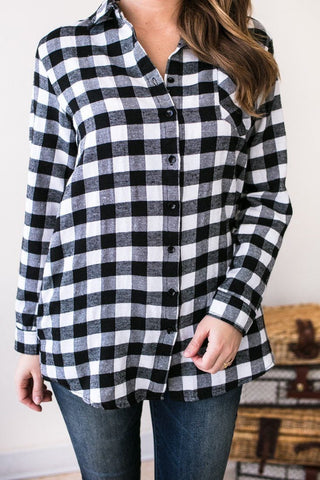 Basic Buffalo Plaid Top with Pockets - White