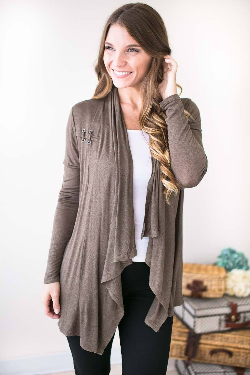 Tops - Better Off Light Weight Olive Cardigan