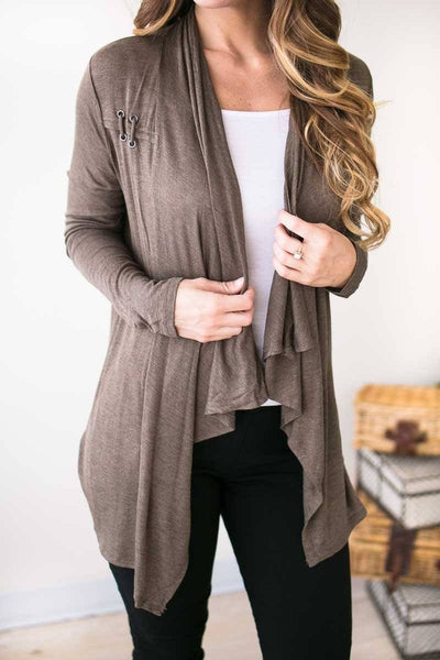 Tops Better Off Light Weight Olive Cardigan - Lotus Boutique
