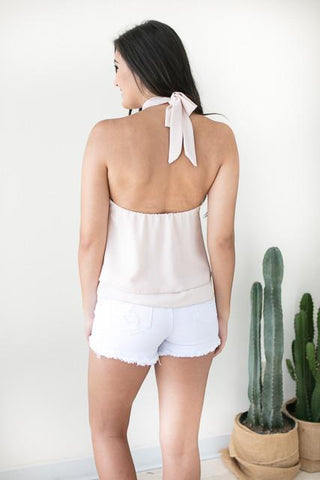 Blank Space Open Back Top - Blush