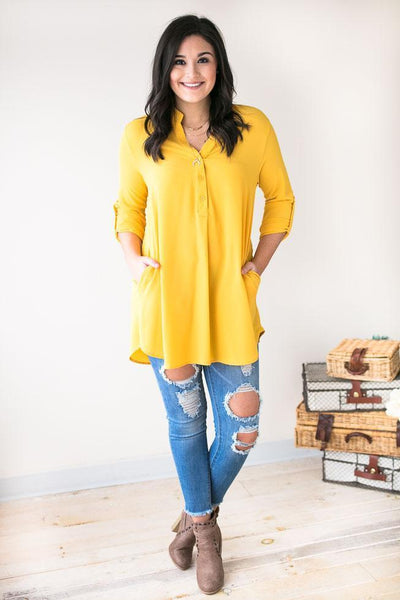 Tops Brighter Days Ahead V-neck Tunic- Mustard - Lotus Boutique