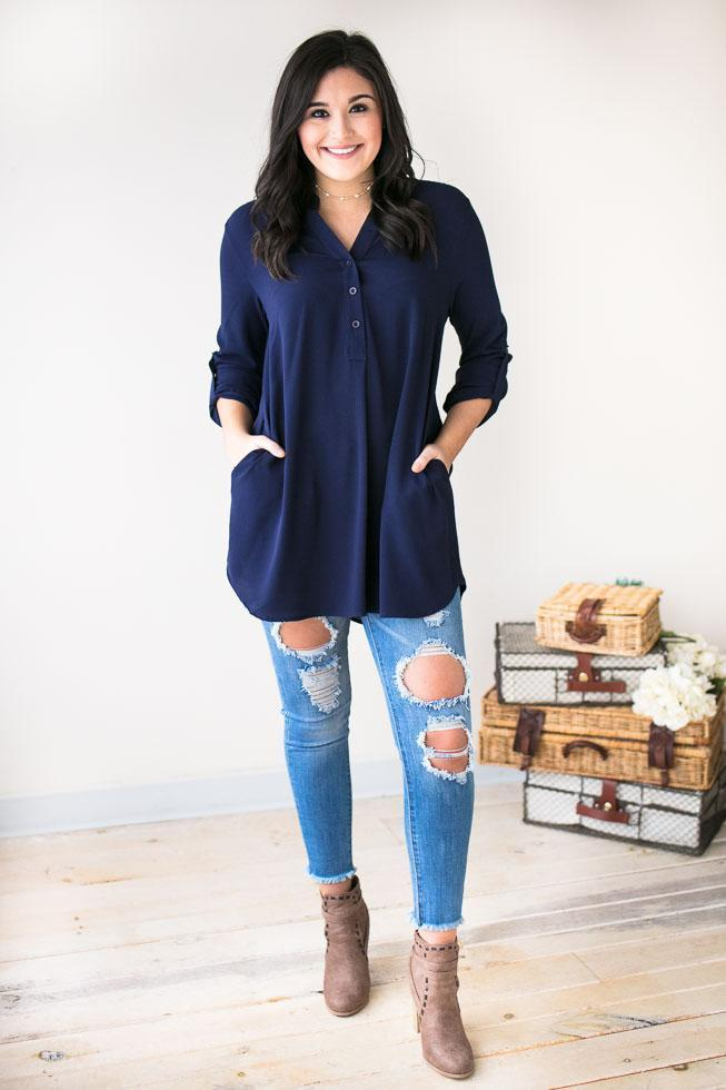 Tops Brighter Days Ahead V-neck Tunic- Navy - Lotus Boutique