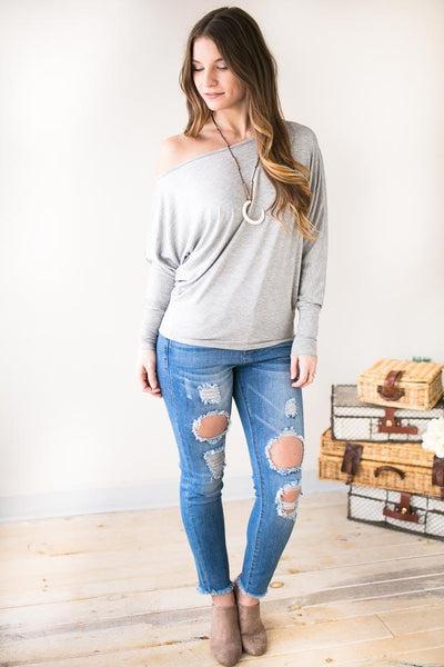 Tops Campfire Songs Off Shoulder Top- Grey - Lotus Boutique