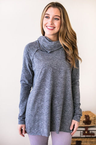 Candid Moments Cowl Neck Top- Grey
