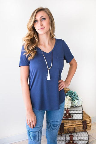 Casual Feels Indigo Pocket Tee Top