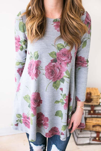 Tops - Delicate Rose Floral Knit Tunic