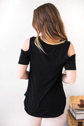 Dynamic Duo Black Cold Shoulder Top