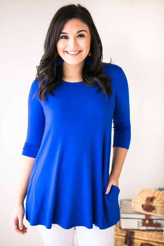 Tops - Feelings Scoop Neck Tunic- Royal Blue