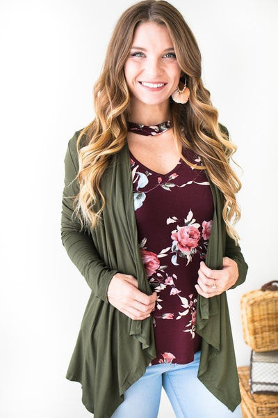 Tops Fly Away Olive Cardigan - Lotus Boutique