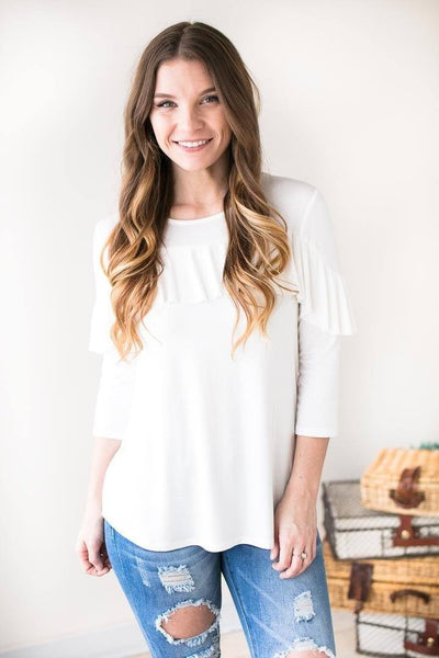 Tops For Now Ruffle Front Top- White - Lotus Boutique