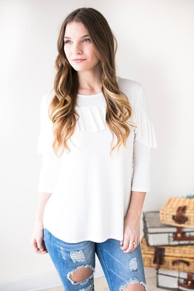 Tops - For Now Ruffle Front Top- White