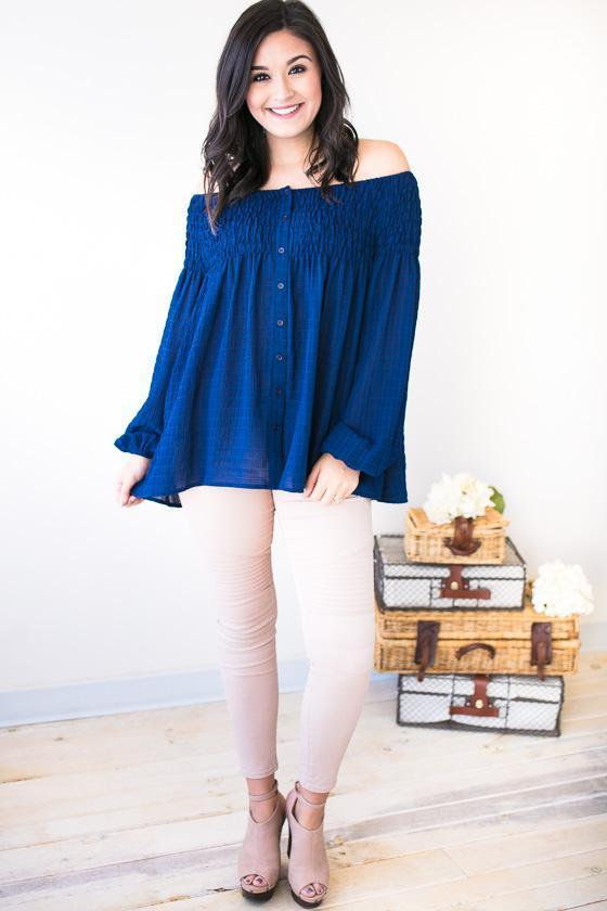 Tops Forever Young Off Shoulder Smocked Top- Navy - Lotus Boutique