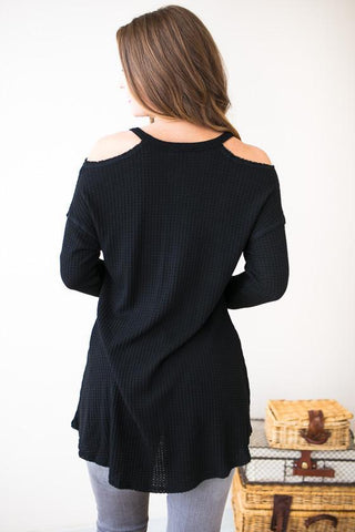 Freely Inspired Cold Shoulder Waffle Knit Top