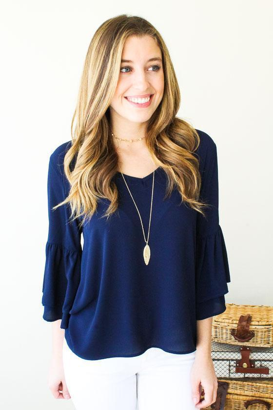 Tops - Good One Bell Sleeve Top- Navy