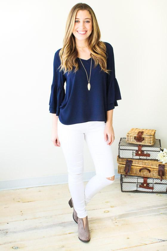 Tops Good One Bell Sleeve Top- Navy - Lotus Boutique