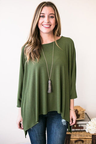 Green With Envy Dolman Sleeve Top