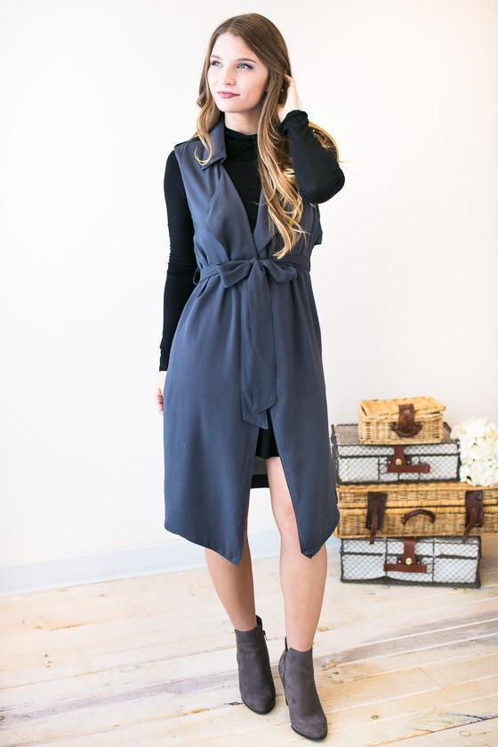 Tops - Invest Your Time Long Draped Trench Vest