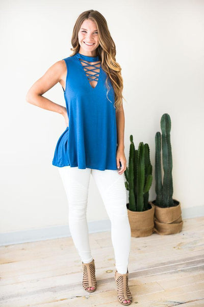 Tops It's Ok To Be Picky Sleeveless Tunic - Lotus Boutique