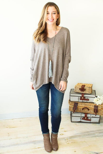 Tops Jamie V-neck Sweater- Mocha - Lotus Boutique