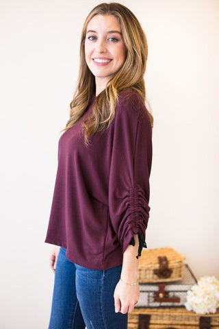 Just Breathing Rouched Sleeve Top- Burgundy