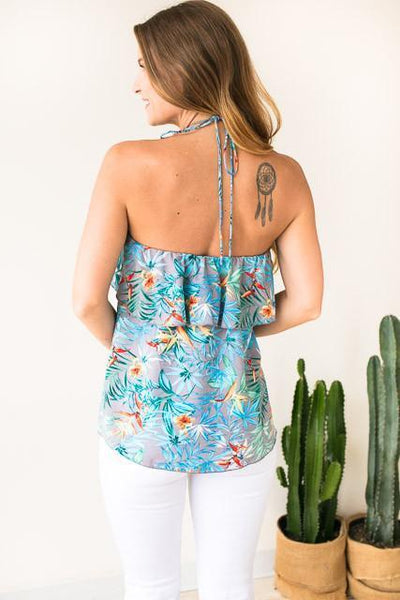 Tops Just Like You Tropical Halter Top - Lotus Boutique