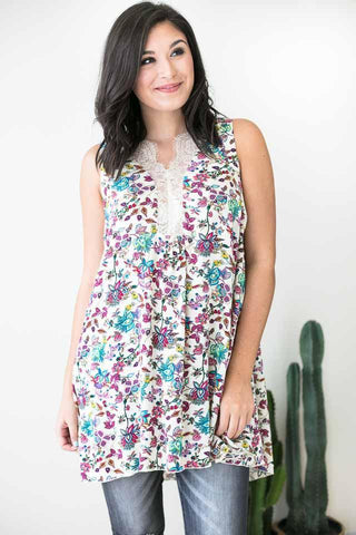 Let It Go Colorful Floral Tunic