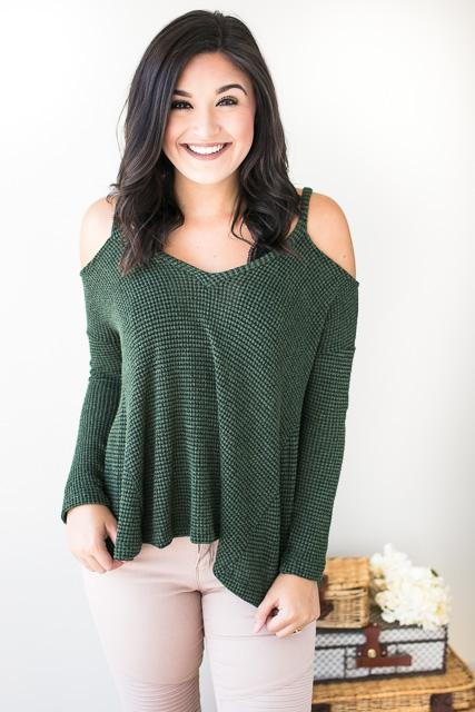 Olive Cold Shoulder Lovin Knitted top
