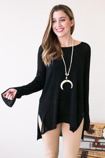 Tops - On My Way Black Boat Neck Sweater