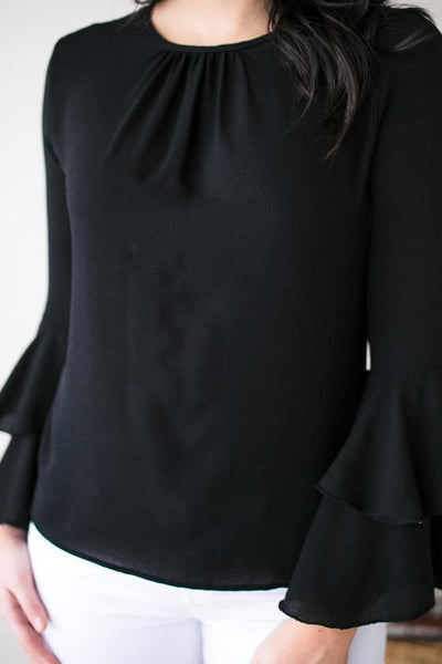 Tops One More Try Bell Sleeve Blouse - Lotus Boutique