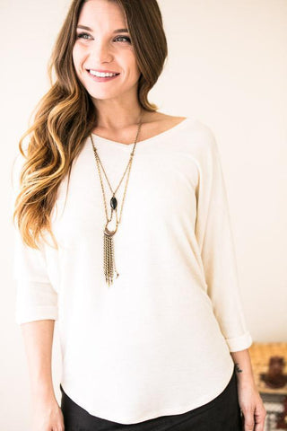 Rollin' On The River V-neck Roll Sleeve Tunic