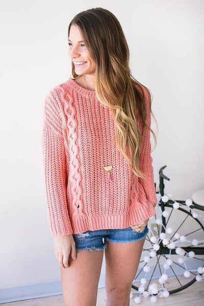 Tops Same Wave Lengths Cable Knit Sweater - Peach - Lotus Boutique