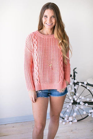 Tops - Same Wave Lengths Cable Knit Sweater - Peach