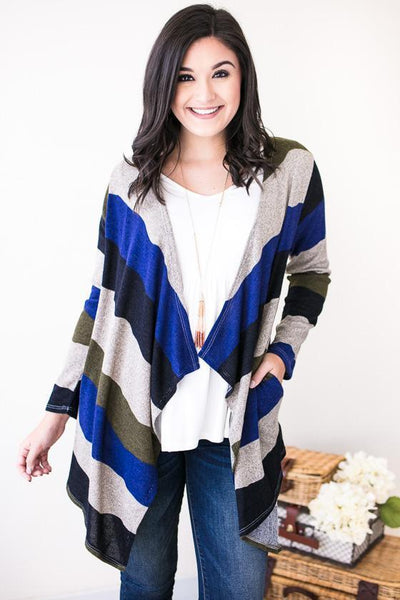 Tops So Sweetly Stripe Knit Cardigan - Lotus Boutique