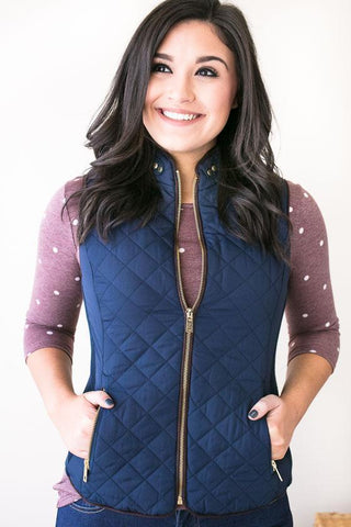 Solo Trip Quilted Vest- Navy