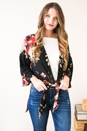 Tops - Southern Border Floral Cardigan- Black