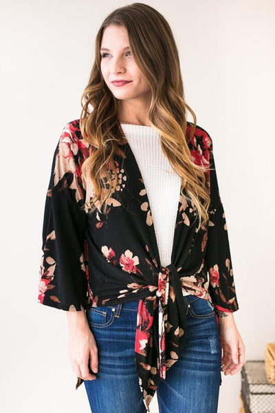 Tops Southern Border Floral Cardigan- Black - Lotus Boutique