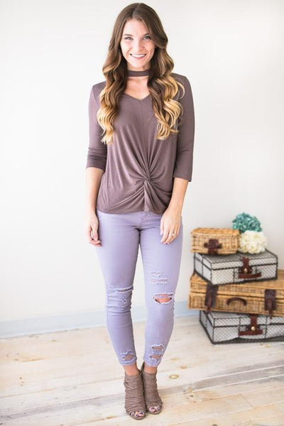 Tops - Steady Look Knot Hem Top In Mocha