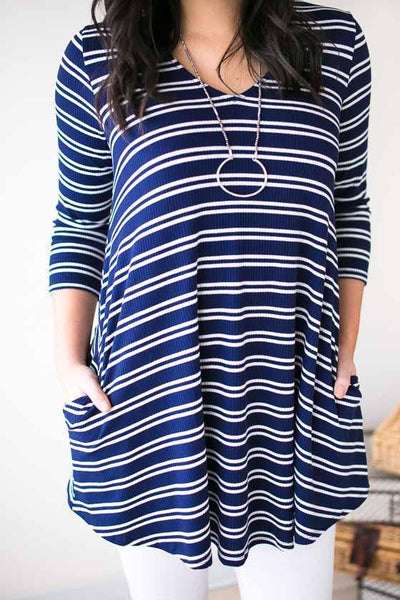 Tops Vacation In Nantucket Stripe Tunic  - Lotus Boutique