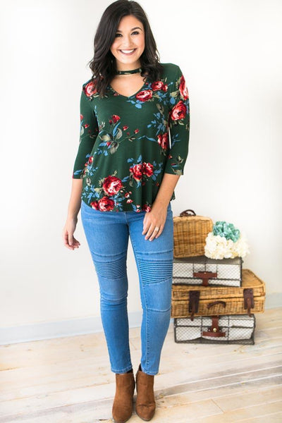 Tops Vivid Floral Green Choker Neck Top - Lotus Boutique