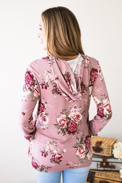Tops Wallflower Hooded Floral Top - Lotus Boutique