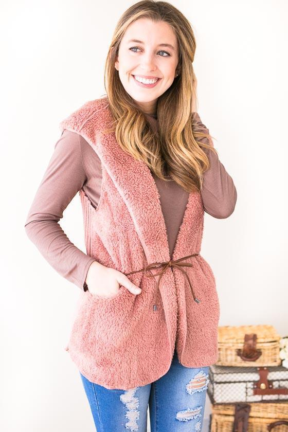 Tops Weekend in Vail Fuzzy Vest- Dusty Pink - Lotus Boutique