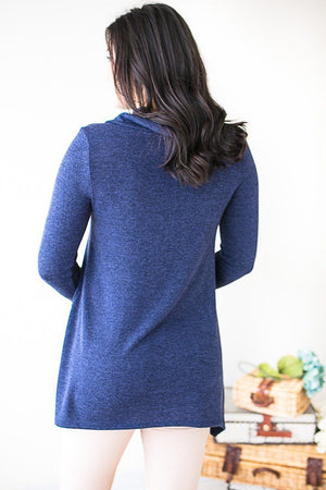 Tops - Wishing Well Button Detail Sweater- Navy