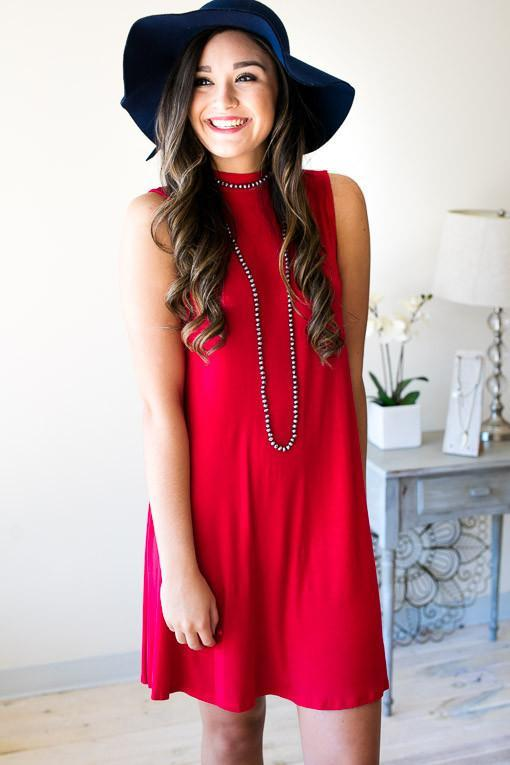 Dresses As You Are Sleeveless Dress - True Red - Lotus Boutique