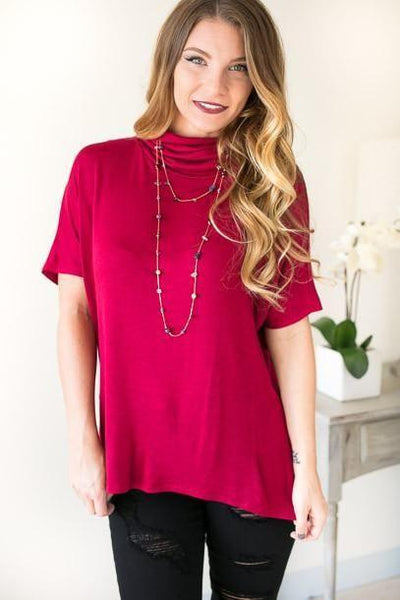 Tops Find Your Place Cowl Neck Top - Red - Lotus Boutique