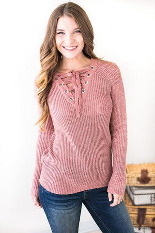 Cross My Heart Lace Up Sweater
