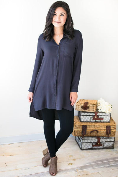 Tops Whole Heart Grey Shirt Dress - Lotus Boutique
