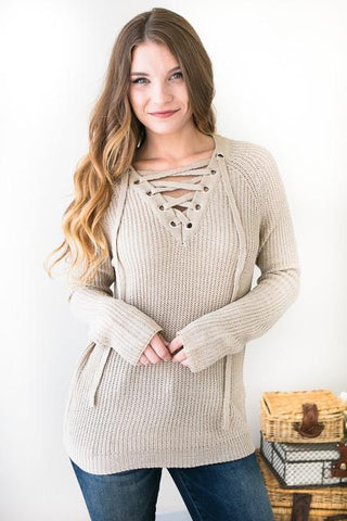 Cross My Heart Taupe Lace Up Sweater