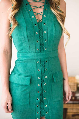 Green Light Suede Bodycon Lace Up Dress