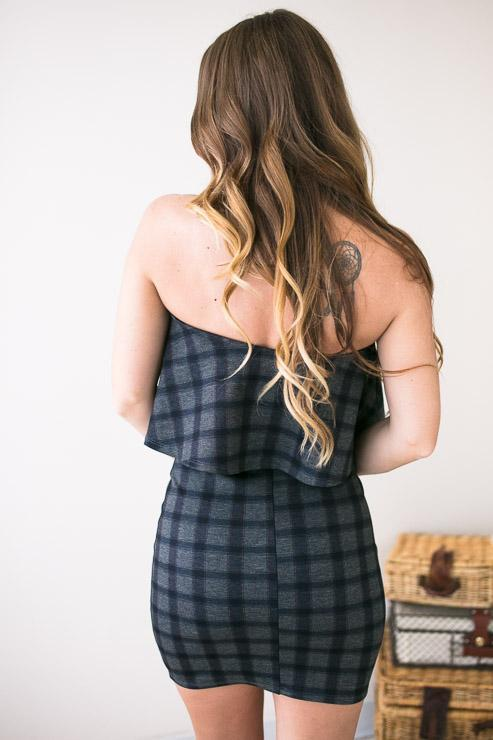 Dresses Plaid Power Navy Strapless Dress  - Lotus Boutique